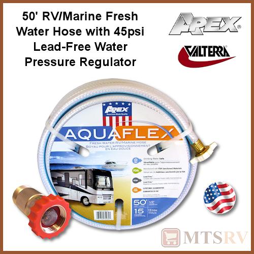 apex aquaflex 50 39 x 1 2 water hose w valterra lead free pressure regulator new ebay. Black Bedroom Furniture Sets. Home Design Ideas