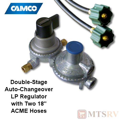 camco rv kit 2 stage auto changeover lp propane gas regulator w 2 acme 18 hoses. Black Bedroom Furniture Sets. Home Design Ideas