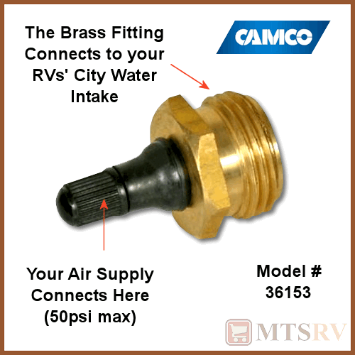 Camco Rv 50psi Brass Winterization Water Intake Blow Out