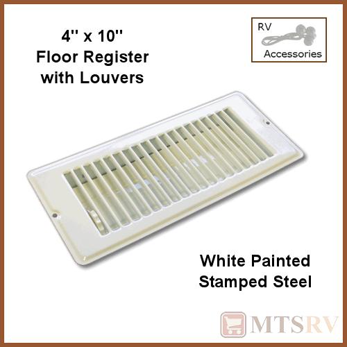 Metal 4x10 white floor register w louvers stamped steel for 10 x 4 floor register