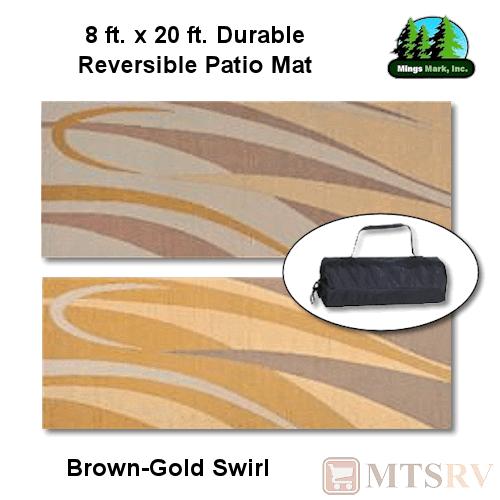 mmi reversible patio mat 8x20 ft brown gold swirl