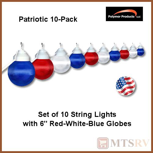 Patriotic Globe String Lights : Polymer Awning RV Patio Globe String Light PATRIOTIC 10 LIGHT SET Red/White/Blue eBay