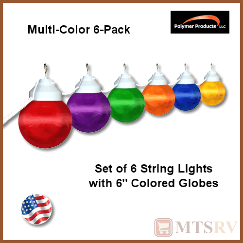 Colored String Lights For Patio : Polymer Awning RV Patio Globe String Lights - MULTI-COLORED - 6 LIGHT SET eBay