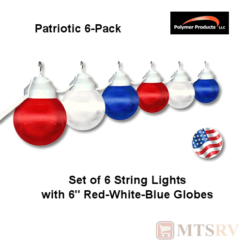 Polymer RV Patio Globe String Lights - PATRIOTIC - 6 LIGHT SET - Red/White/Blue eBay
