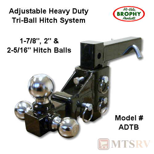 "Tow Ready Tri-Ball Trailer Ball Mount 2/"" Shank with 3 Chrome Balls"