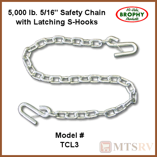 CR Brophy Machine Works TCL2 1//4 X 4 Safety Chain with Latch and Hooks