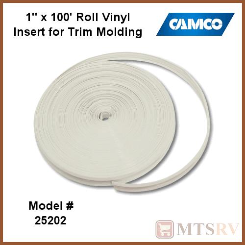 "1/"" x 100/' CAMCO 25202 WHITE VINYL TRIM INSERT"