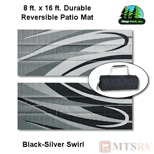 Mmi Reversible Patio Mat 8x16 Ft Black Silver Swirl