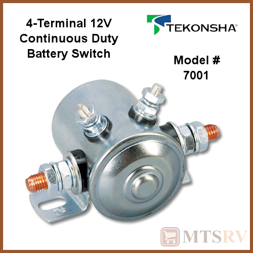 Tekonsha 3-Terminal Battery Switch Isolator 12V Continuous Duty Model 7000